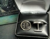 Silver cuff links, Engraved Heavyweight Sterling Silver Bezel Cufflinks with Monograms or initials