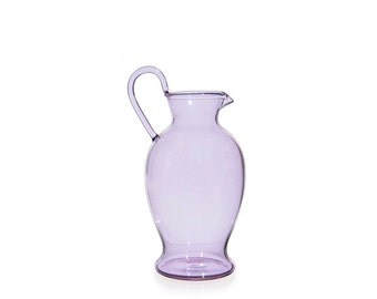 Hand Blown Glass Pitcher, Purple