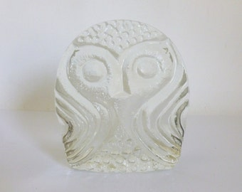 Vintage 1960's BLENKO Clear Glass Owl Bookend Sculpture