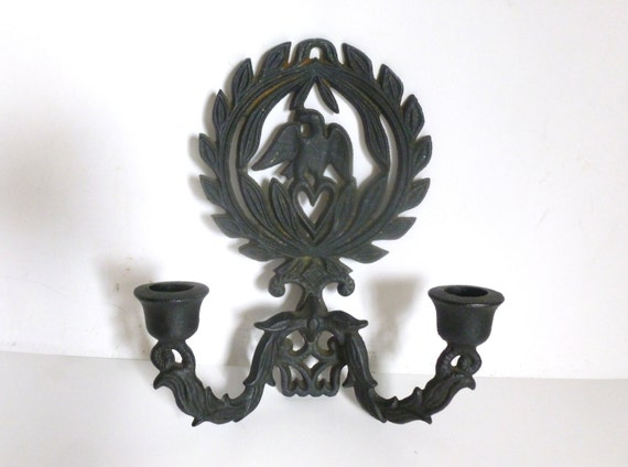 Outdoor Wall Sconce Candle Holder : Vintage Cast Iron Bald Eagle Indoor Outdoor Wall Sconce Taper