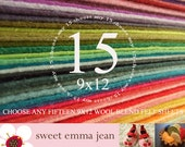 Wool Felt Sheets - Choose Any Fifteen (15) - Wool Blend Felt