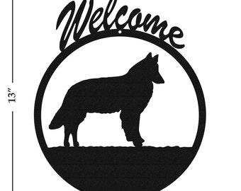 Dog Belgian Sheepdog Black Metal Welcome Sign