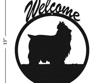 Dog Yorkshire Terrier Black Metal Welcome Sign