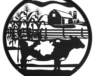 Hand Made Farm Dairy Cow Scenic Art Wall Design *NEW*