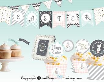 Easter Egg Hunt Party Printables - Easter Brunch Easter Breakfast  I N S T A N T • D O W N L O A D