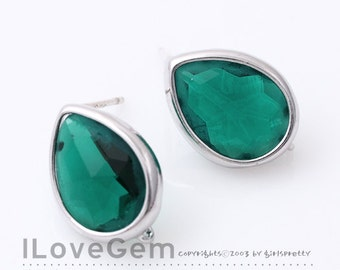 NP-1402 Rhodium plated, Glass Tear drop, Emerald Green, earrings, 92.5 sterling silver post, 2pcs