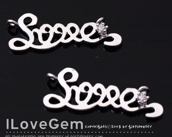 NP-1505 Rhodium plated, Love, Pendant, 2pcs