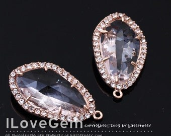 NP-1487 Rose Gold plated, Clear, Glass, Pendant, 2pcs