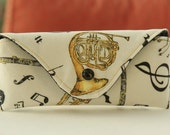 Glasses case/ Eyeglass case/ sunglasses case/ reading glasses case/ music instruments notes yellow black on white