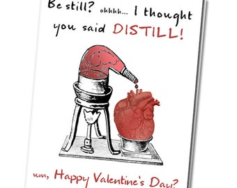 Printable Funny Valentine Card Distill My Beating Heart Digital Download Geeky DIY Zombie  Valentine anatomical heart joke valentine pun