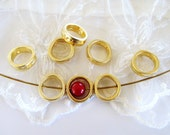 Gold Plated Spacer Ring with Two Holes, Gold Tube, Metal Bead, Metal Ring 12mm, Inside 8mm- 3 pieces