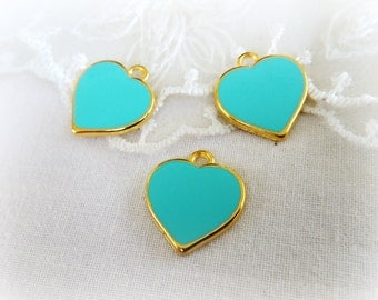 "Gold Plated with Veraman Mint Enamel Heart Charm Pendant, Love Charm, Tiny Charm, Small Charm, Gold Metal 15x16mm / 0.59"" x 0.62"" - 1 piece"