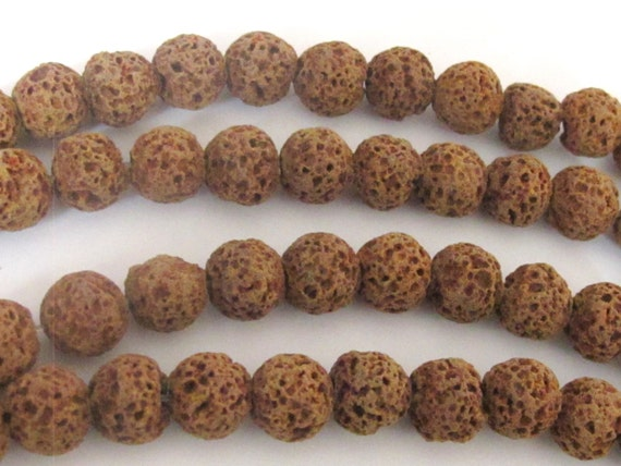 Rondelle shape brown lava beads 10 mm  - 10 beads - NB107