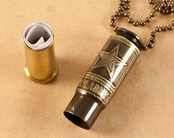 "Time capsule pendant - ""Army"" - etched bullet pendant - bullet necklace - locket"