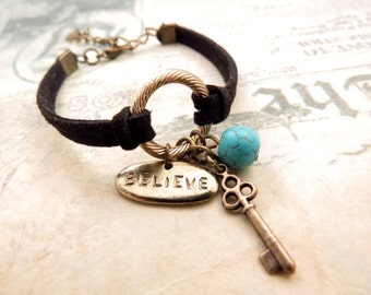 Believe and Key Cord Bracelet. Best Friend Gift, Handmade Bracelet, Friendship Bracelet