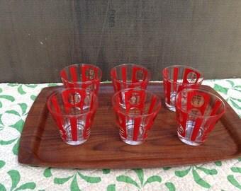 Vintage Bar Glasses - Red - Gold - Oriental - Set of 6