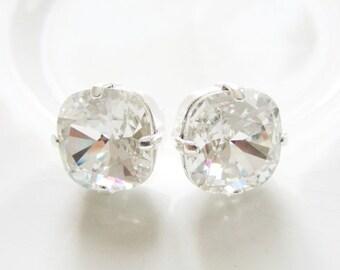 Clear Silver Stud Post Earrings