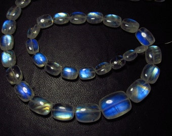 14 inches - AAAA  High Quality Rainbow Moonstone Smooth Polished Cushion shape Briolettes Blue strong Fire size - 4.5x6 - 10x13 mm - 41 pcs