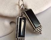Fine Sterling Black Onyx Oblong Drop Earrings