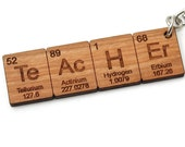 Science Teacher's Gift Periodic Table Keychain FOB . Wood . Geekery Key Chain . Nerdy Cool Chemistry Elements Backpack Clip On Accessory