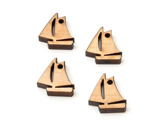 "Sailboat Charms - 3/4"" Size - With or Without Holes - Laser Cut Wood -  Etsy Itsies by Timber Green Woods - Made in the U.S.A. - MAPLE"