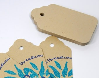Classic Tag with a Scallop Design at One End Cardstock Tags  (25) Recycled Beige Cardstock