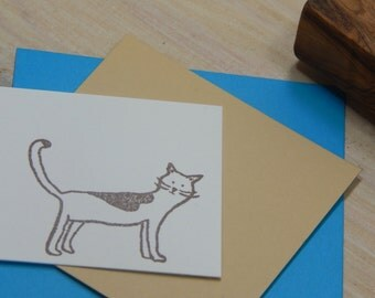 Charity Stamp Inquisitive Cat Olive Wood Stamp