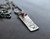 Textured Sterling Silver Heart Necklace Hand-Stamped, Tourmaline