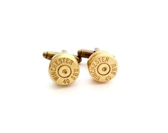 Winchester Gold Smith & Wesson Bullet Casing Cufflinks For Him Military Country Western Police