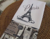 Eiffel Tower with Paris (Cream) - Paris Nights D'Orsay - Microfiber Waffle Weave Kitchen Hand Towel