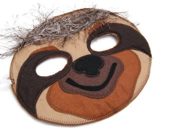 Sloth Mask, Animal Mask, Animal Felt Mask, Animal Birthday Party Favor, Children's Halloween Costume, Adult Mask