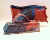 Butter Dish in Red/Tan/Blue/White