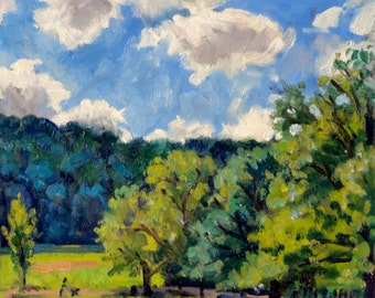 Backlight, Inwood Hill Park, NYC. Small 6x8 Oil Painting, Original Plein Air Impressionist Landscape on Panel,