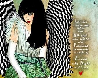 Wings / original illustration ART Print SIGNED / 8 x 10 / Inspirational Print