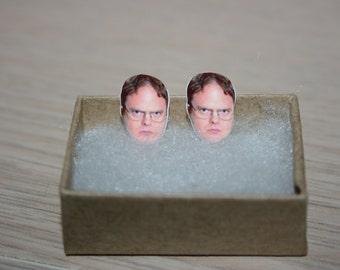 Dwight Schrute Rainn Wilson The Office Stud Face Earrings Celebrity Inspired Jewelry