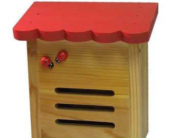 Red Roof Ladybug House - Locally Hand-Made and Hand-Painted. Attract Bug Hungry Lady Bugs to your Garden with this Hibernation Box
