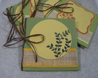 blank handmade papers green square card set