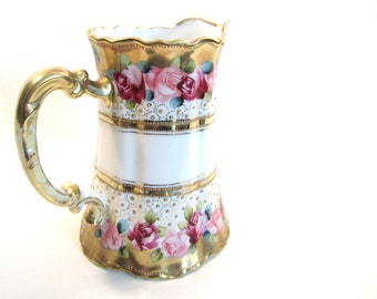 SALE! Antique Nippon Rose and Gold Serving Pitcher Hand Painted Moriage Red Pink Roses Maple Leaf Mark