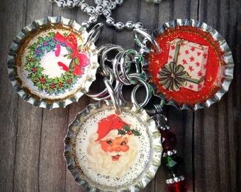 Vintage Christmas #4  Themed Bottle Cap Necklace