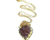 Lilac Druzy Pendant / 14K Gold / Leaf Drop Pendant / Purple / Wire Wrapped / Statement Necklace / Modern Jewelry / Gifts Fore Her / OOAK