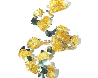 Beautiful Citrine Necklace / Faceted Gemstone / Sterling Silver / Wire Wrapped / Statement Jewelry / Gifts For Her / Lemon Yellow / OOAK