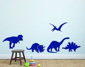CLEARANCE 50% OFF  Vinyl Wall Decal Dinosaurs - Dinosaur Decal - Nursery Vinyl Wall Decal - Child's Room Wall Decal - Dinosaur Silhouettes