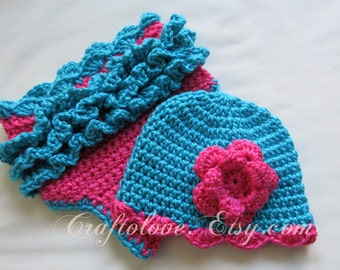 Crochet baby diaper cover- Baby shower gift - Crochet baby diaper cover hat- Baby Girl shower gift- Turquoise/Hot pink baby diaper cover hat