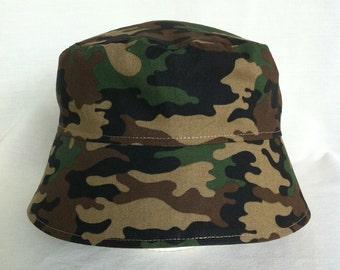 Baby BUCKET HAT, Camo Hat, Infant Sun Hat, Baby Camo, New Born Hat, Chin Strap Hat, Baby Sun Hat, Camo Sun Hat