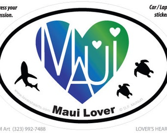 Maui Lover's Heart Euro Sticker for your car, laptop or...