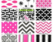 Pink Black Pillow Covers, Throw Pillows, Decorative Pillows Cushion Covers, Black Pink White Euro Sham, One or More ALL SIZES Mix & Match
