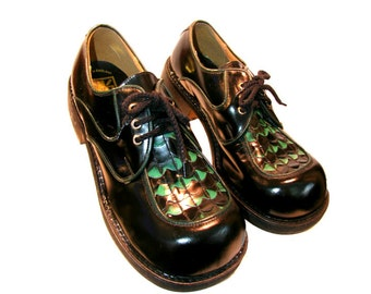 Mens Club Kid Shoes Vintage Green and Black Leather Lace Front Gibson Shoes From England Mns US Size 8