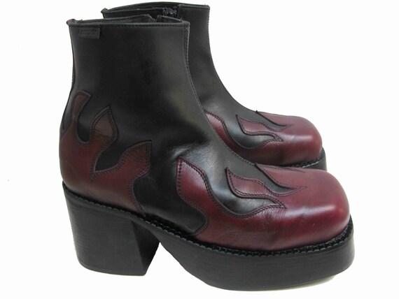 mens platform boots vintage destroy black and burgundy