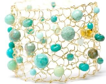 Gold Cuff Bracelet Green Opal Jewelry Beaded Bracelets Arm Cuff Gemstone Bracelet Turquoise Bracelet Birthstone Bracelet Opal Bracelet