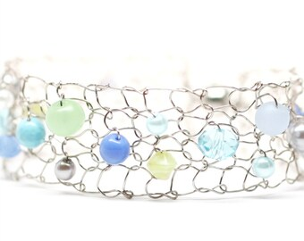 Colorful Summer Bracelet Wire Mesh Cuff Bracelet Steel Thin Cuff Beadwork Lime Blue White Aqua Wire Knit Jewelry
